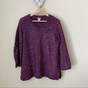 Chico's purple sweater with sequins and sparkles.